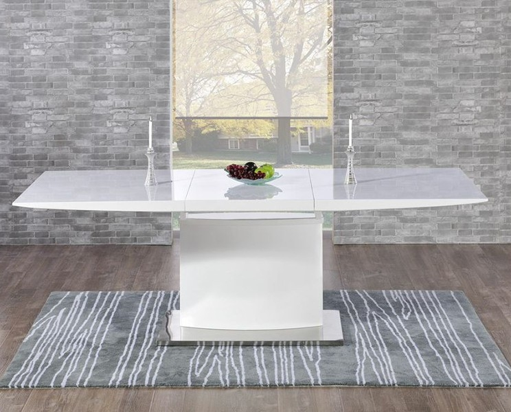 Mark Harris Hayden White High Gloss Dining Table   160cm Extending