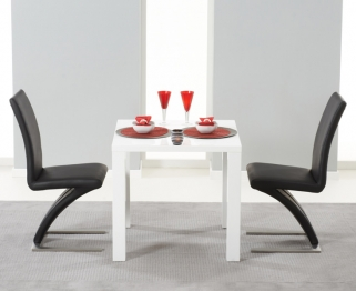 Mark Harris Hereford White High Gloss Dining Set with 2 Black Hereford Dining Chairs