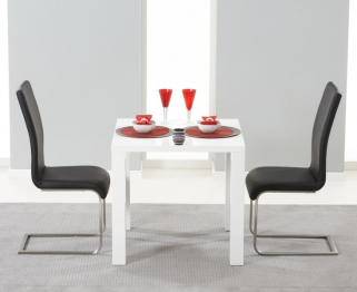Mark Harris Hereford White High Gloss Dining Set with 2 Black Malibu Dining Chairs