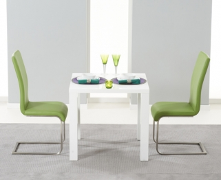 Mark Harris Hereford White High Gloss Dining Set with 2 Green Malibu Dining Chairs