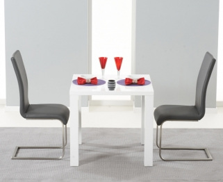 Mark Harris Hereford White High Gloss Dining Set with 2 Grey Malibu Dining Chairs