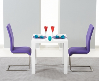 Mark Harris Hereford White High Gloss Dining Set with 2 Purple Malibu Dining Chairs