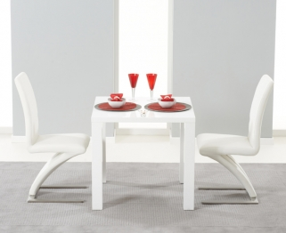 Mark Harris Hereford White High Gloss Dining Set - with 2 White Hereford Chairs