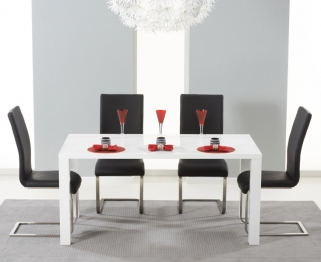 Mark Harris Hereford White High Gloss Dining Set - with 4 Black Malibu Chairs