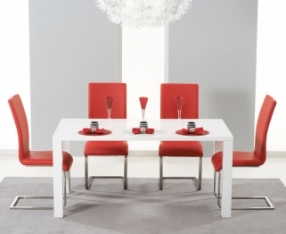 Mark Harris Hereford White High Gloss Dining Set with 4 Red Malibu Dining Chairs