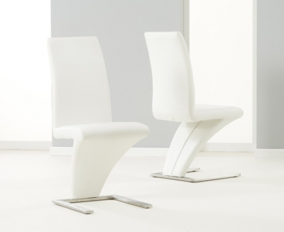 Mark Harris Hereford White Faux Leather Dining Chair (Pair)