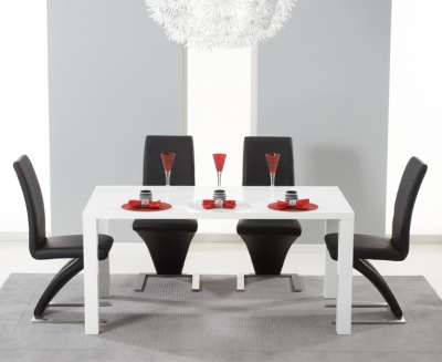 Mark Harris Hereford White High Gloss Dining Table and 4 Hereford Black Chairs