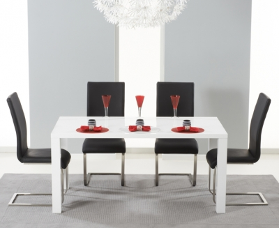 Mark Harris Hereford White High Gloss Dining Table and 4 Malibu Black Chairs