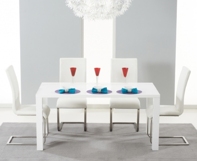 Mark Harris Hereford White High Gloss Dining Table and 4 Malibu Ivory Chairs