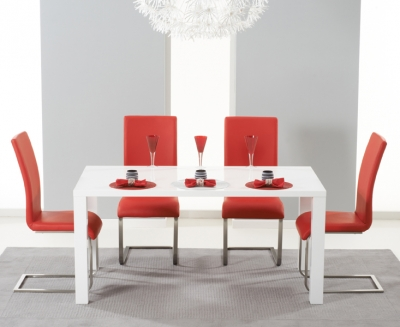 Mark Harris Hereford White High Gloss Dining Table and 4 Malibu Red Chairs