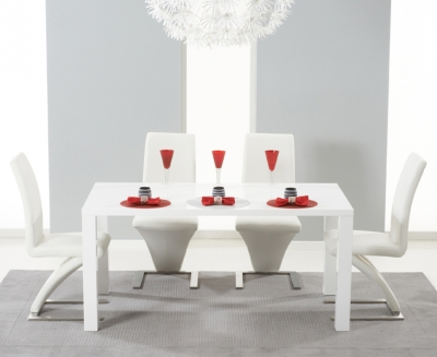 Mark Harris Hereford White High Gloss Dining Table and 4 Hereford White Chairs