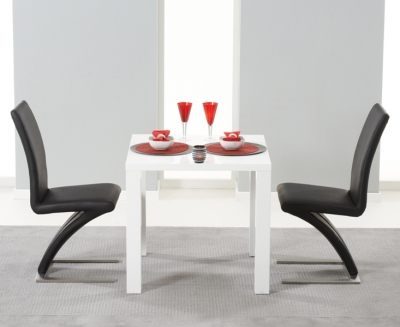 Mark Harris Hereford White High Gloss Square Dining Table and 2 Hereford Black Chairs