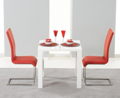 Mark Harris Hereford White High Gloss Square Dining Table and 2 Malibu Red Chairs