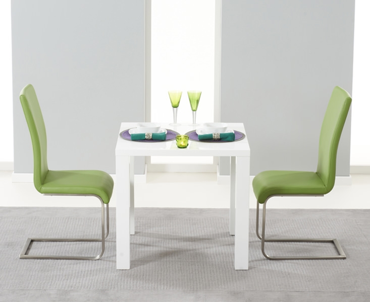Mark Harris Hereford White High Gloss Dining Set - with 2 Green Malibu Chairs