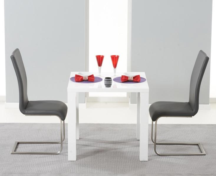 Mark Harris Hereford White High Gloss Dining Set - with 2 Grey Malibu Chairs