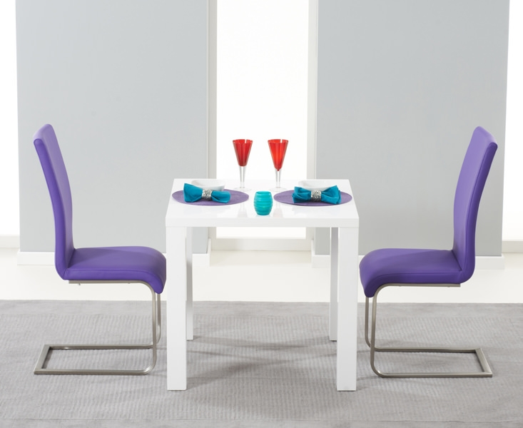 Mark Harris Hereford White High Gloss Dining Set with 2 Purple Malibu Dining Chairs