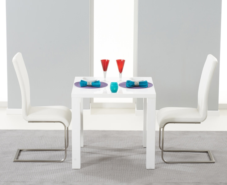 Mark Harris Hereford White High Gloss Dining Set with 2 White Malibu Dining Chairs