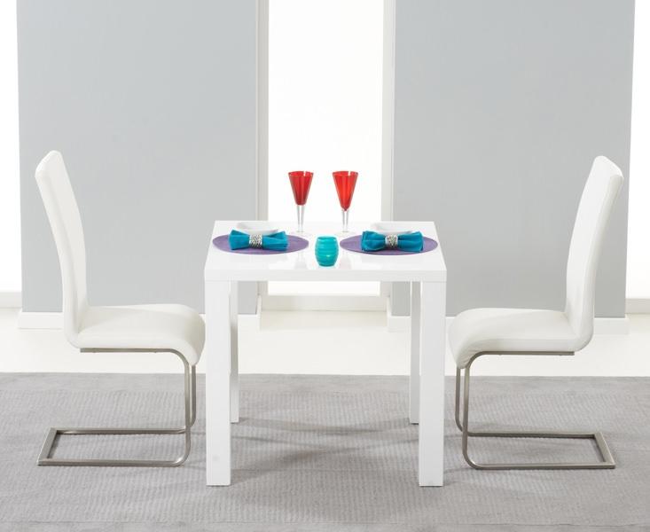 Mark Harris Hereford White High Gloss Dining Set - with 2 White Malibu Chairs