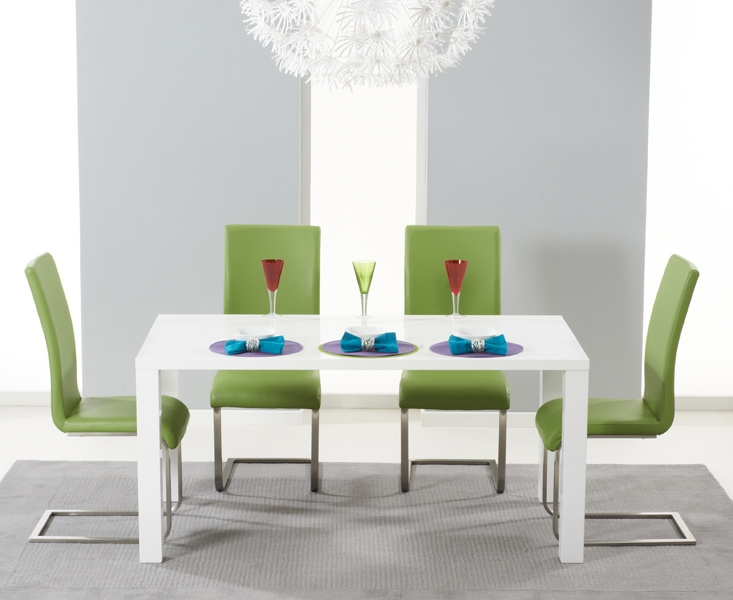 Mark Harris Hereford White High Gloss Dining Set with 4 Green Malibu Dining Chairs