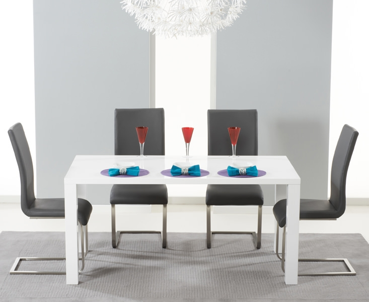 Mark Harris Hereford White High Gloss Dining Set with 4 Grey Malibu Dining Chairs