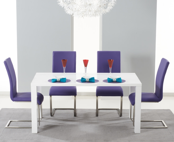 Mark Harris Hereford White High Gloss Dining Set with 4 Purple Malibu Dining Chairs
