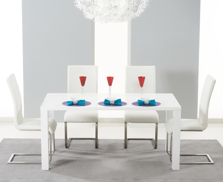 Mark Harris Hereford White High Gloss Dining Set with 4 White Malibu Dining Chairs