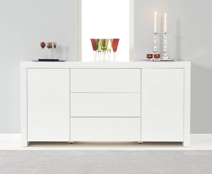 Mark Harris Hereford White High Gloss Sideboard - 2 Doors 3 Drawers