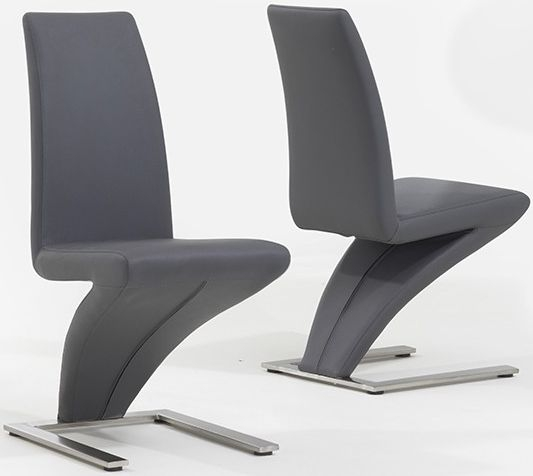 Mark Harris Hereford Grey Faux Leather Dining Chair (Pair)
