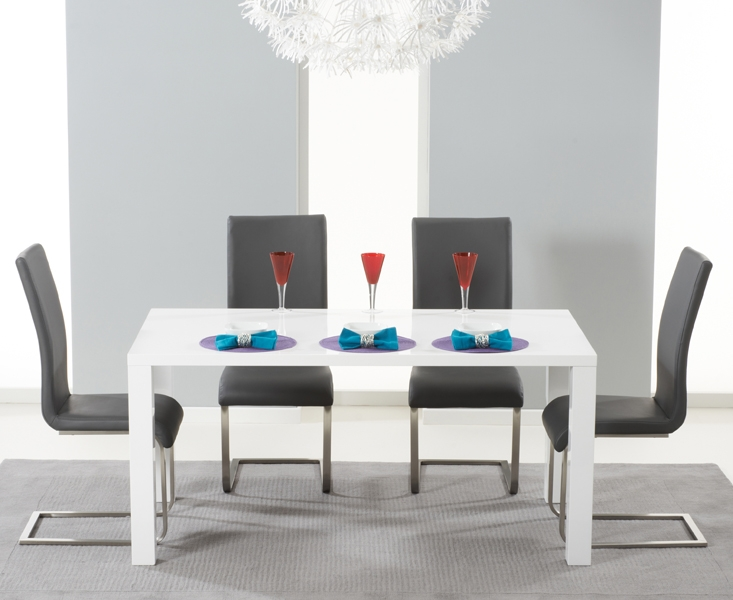Mark Harris Hereford White High Gloss Dining Table and 4 Malibu Grey Chairs
