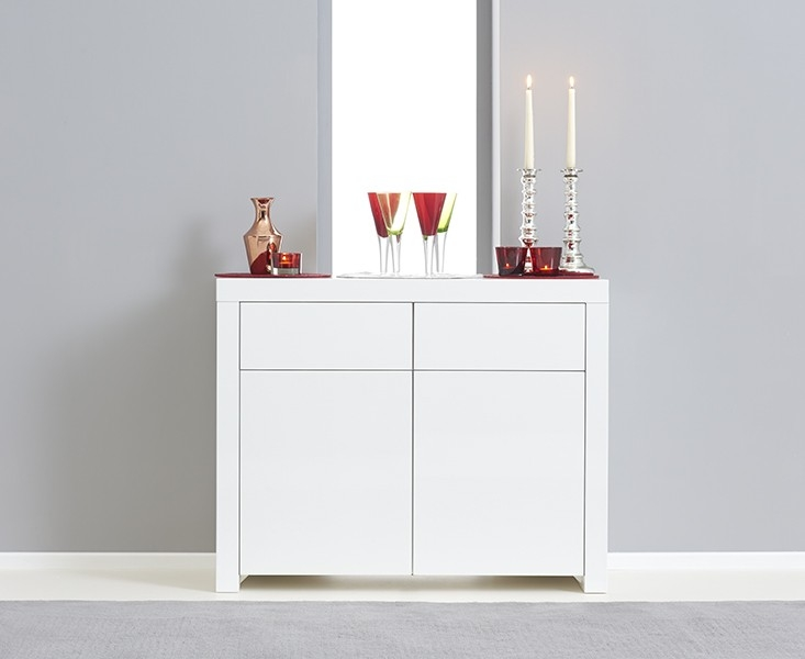 Mark Harris Hereford White High Gloss Narrow Sideboard