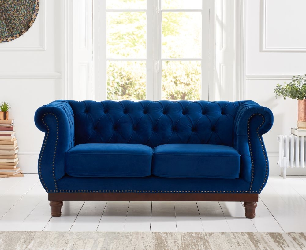 Mark Harris Highgrove Blue Plush Fabric 2 Seater Sofa