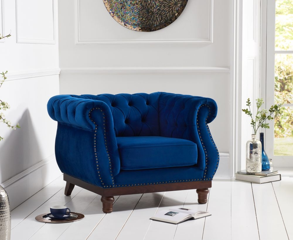 Mark Harris Highgrove Blue Plush Fabric Armchair