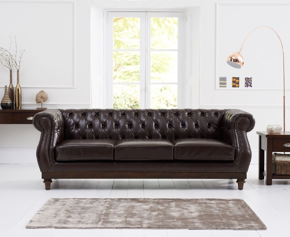 Mark Harris Highgrove Brown Leather 3 Seater Sofa