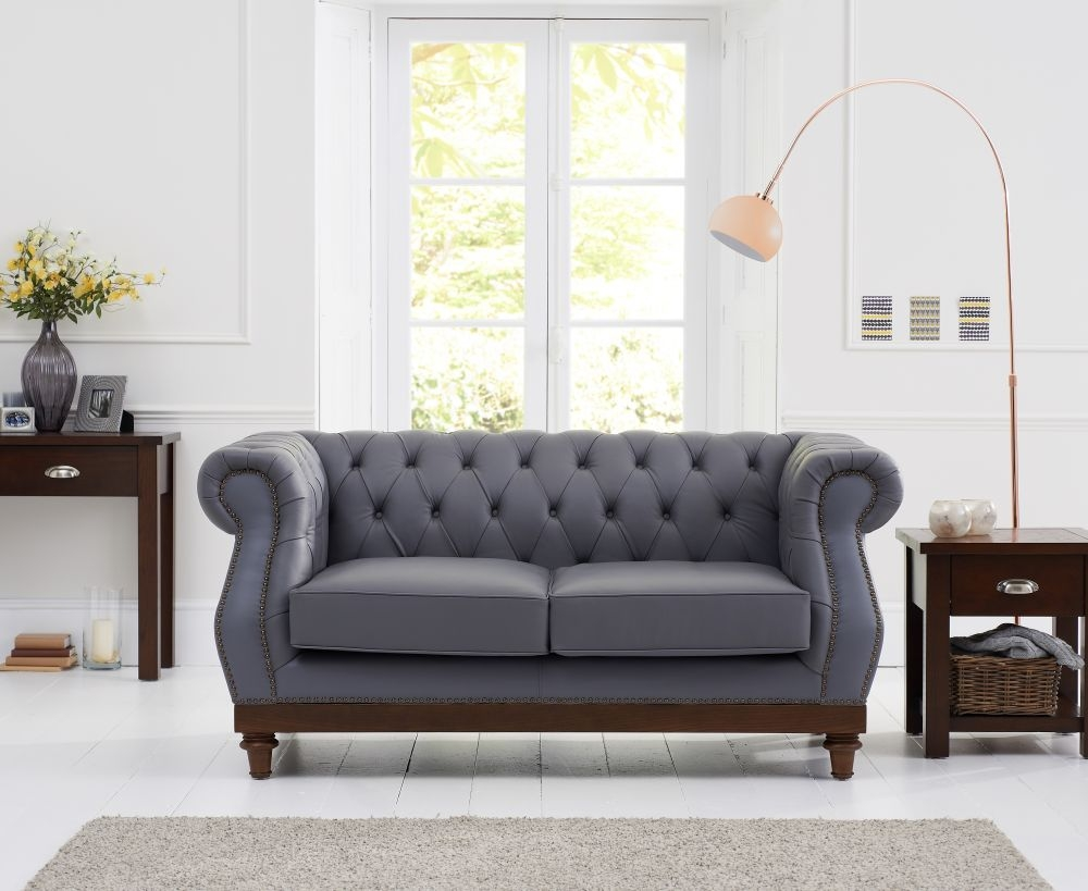 Mark Harris Highgrove Grey Leather 2 Seater Sofa