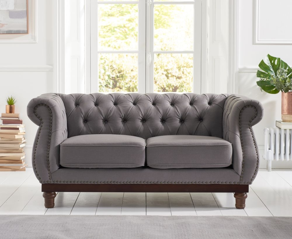 Mark Harris Highgrove Grey Linen Fabric 2 Seater Sofa