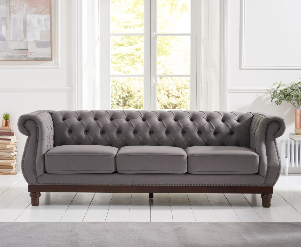 Mark Harris Highgrove Grey Linen Fabric 3 Seater Sofa