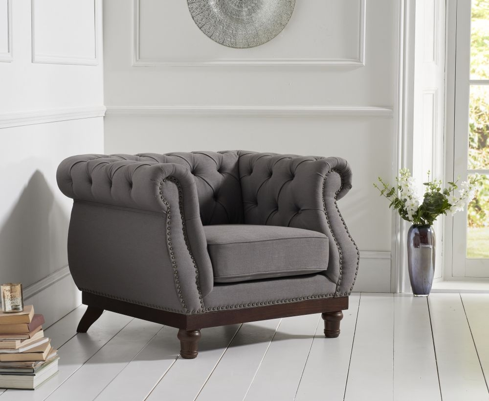 Mark Harris Highgrove Grey Linen Fabric Armchair