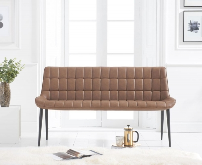 Mark Harris Horacio Brown Faux Leather Bench
