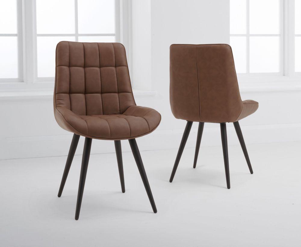 Mark Harris Horacio Brown Faux Leather Dining Chair (Pair)