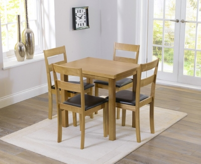 Mark Harris Hove Solid Oak 60cm Extending Dining Set with 4 Chairs