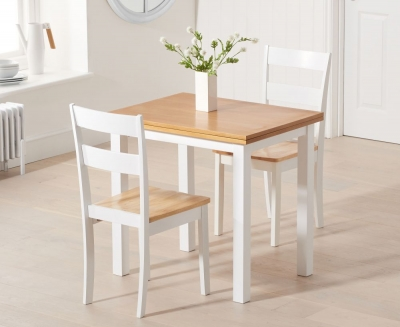 Mark Harris Hove Extending Dining Table and 2 Chichester Chairs - Oak and White
