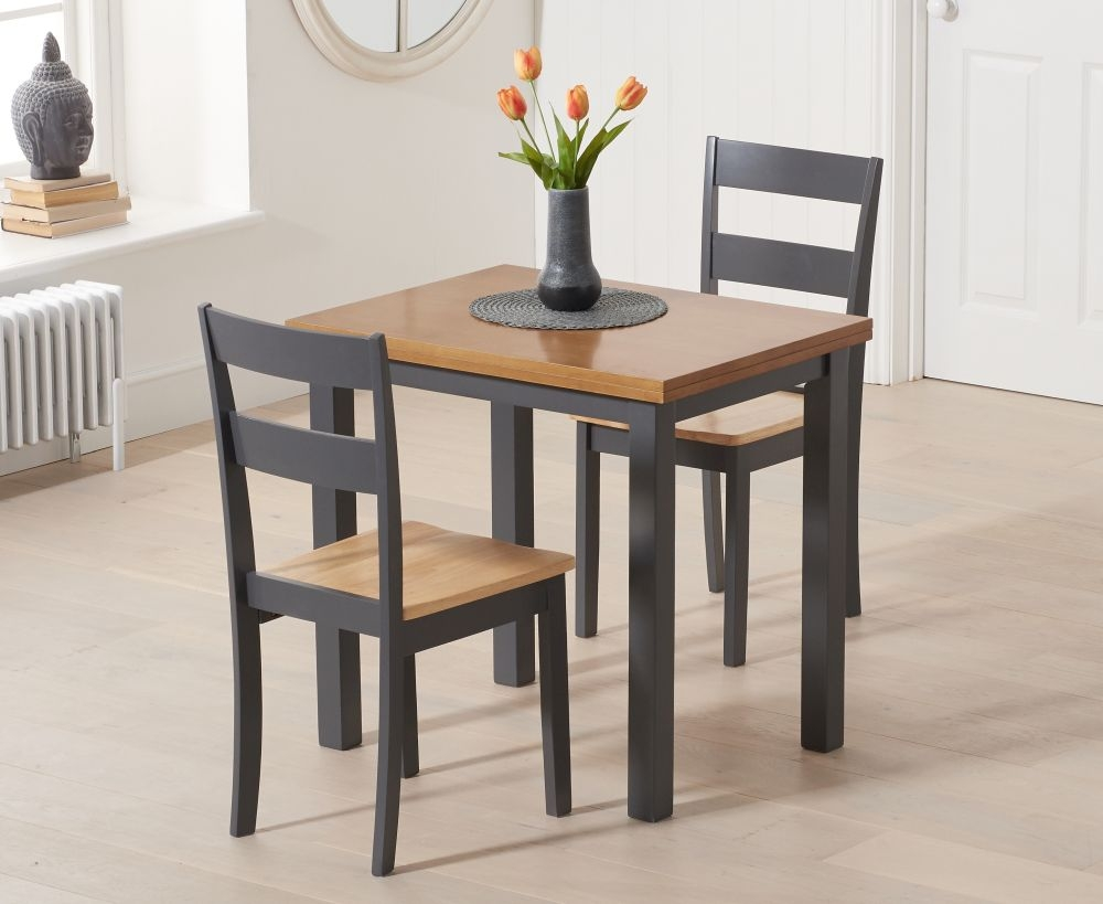 Mark Harris Hove Extending Dining Table and 2 Chichester Chairs - Oak and Dark Grey