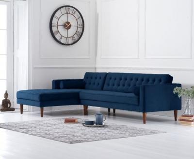 Mark Harris Idriana Blue Velvet Left Facing Corner Chaise Sofa
