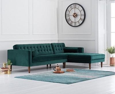 Mark Harris Idriana Green Velvet Right Facing Corner Chaise Sofa