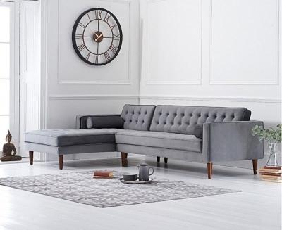 Mark Harris Idriana Grey Velvet Left Facing Corner Chaise Sofa
