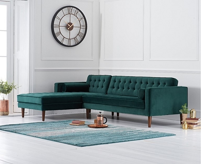Mark Harris Idriana Green Velvet Left Facing Corner Chaise Sofa