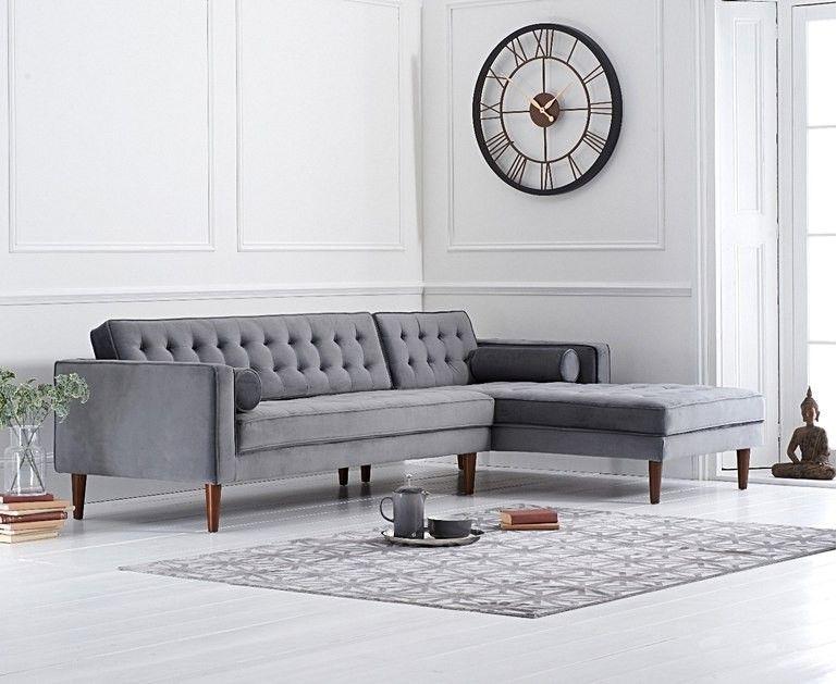 Mark Harris Idriana Grey Velvet Right Facing Corner Chaise Sofa