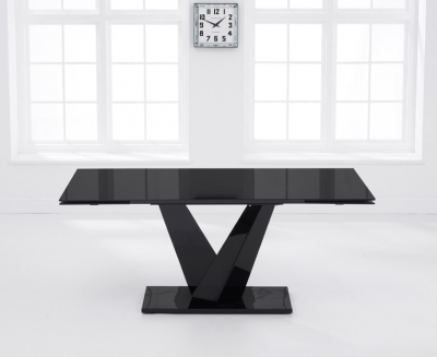 Mark Harris Isla 180cm Black Glass Extending Dining Table