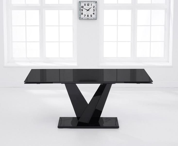 Mark Harris Isla Black Glass Rectangular Extending Dining Table - 180cm-260cm