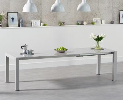 Mark Harris Jamie Light Grey High Gloss Extending Dining Table